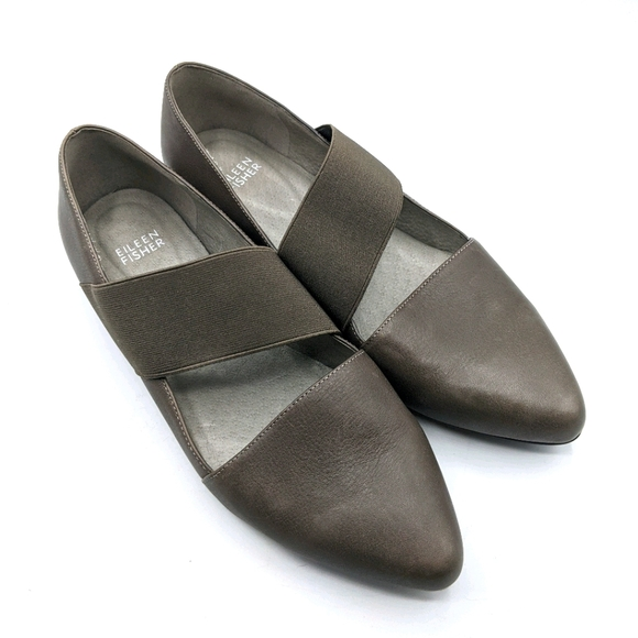 Eileen Fisher Lend Leather Washed Pointed Flat 8.5